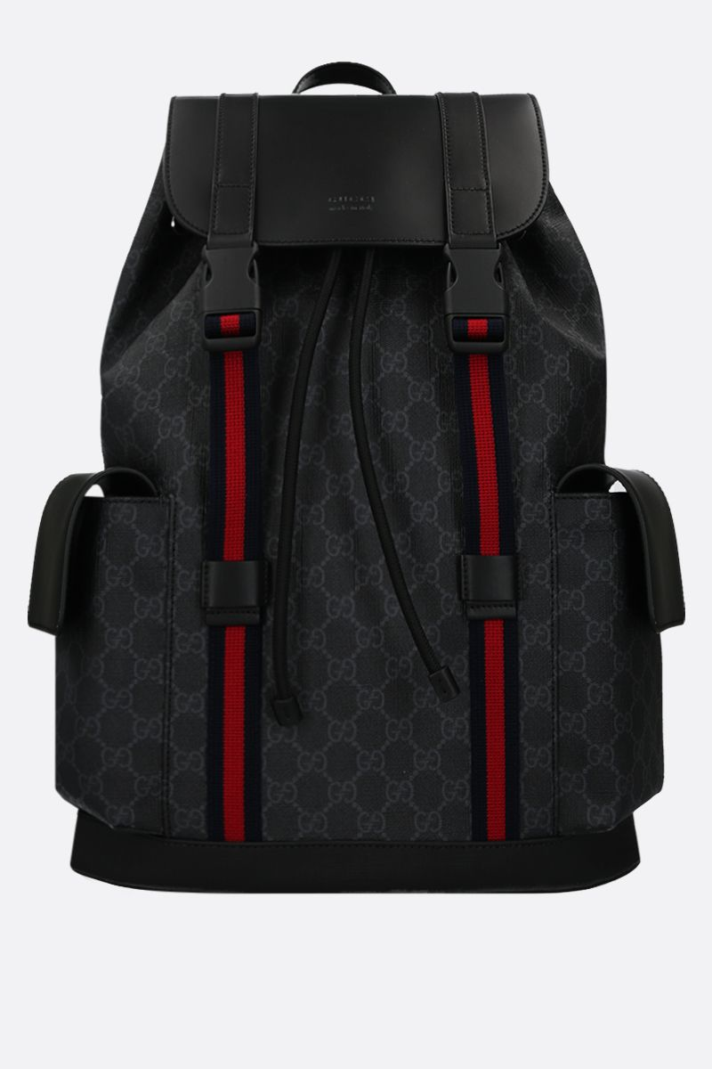 GUCCI: GG Supreme canvas and smooth leather backpack Color Black_1