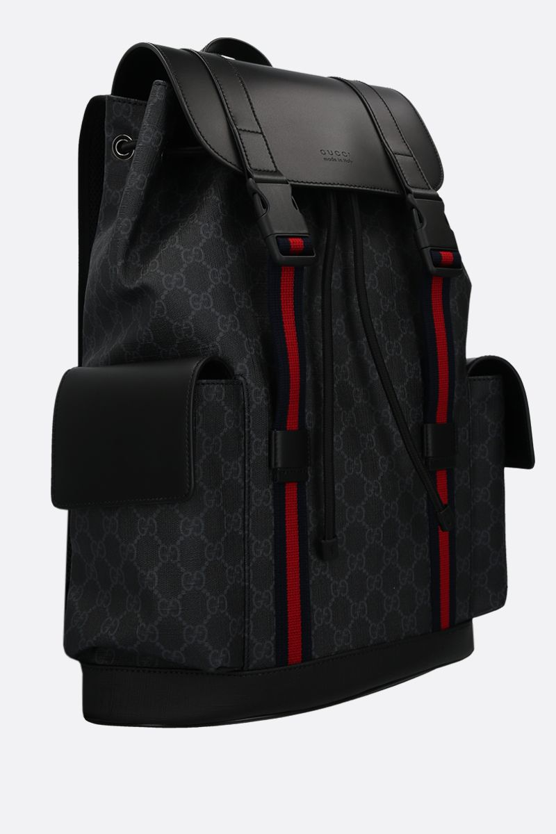GUCCI: GG Supreme canvas and smooth leather backpack Color Black_2
