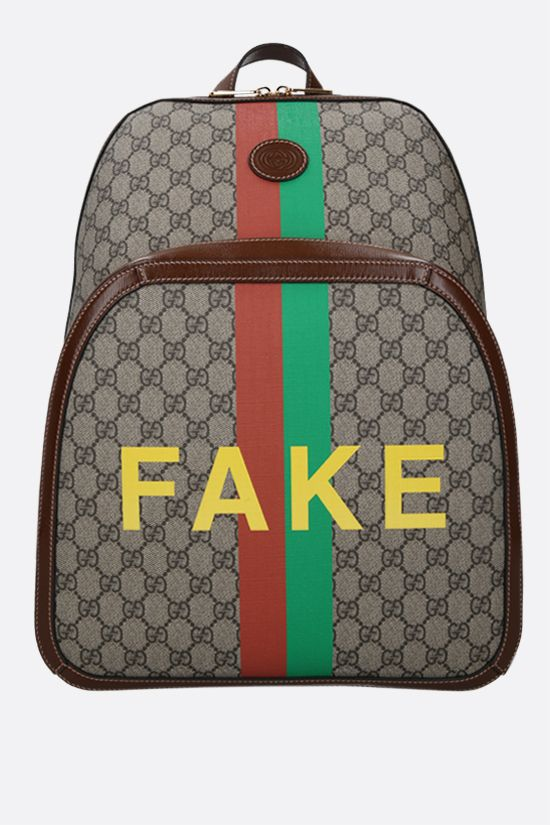 GUCCI: Fake/Not print GG Supreme backpack Color Neutral_1