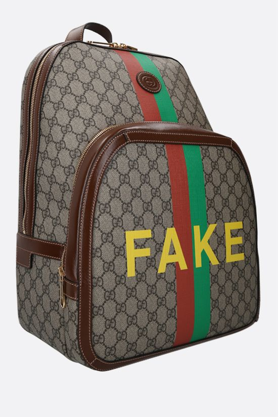 GUCCI: Fake/Not print GG Supreme backpack Color Neutral_2