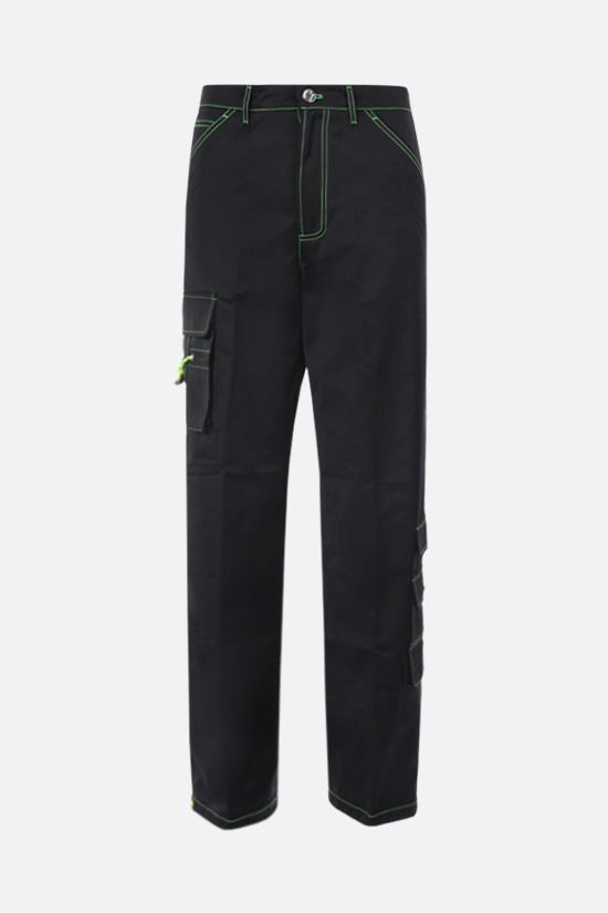 IRENEISGOOD: contrast stitching-detailed nylon cargo pants Color Black_1