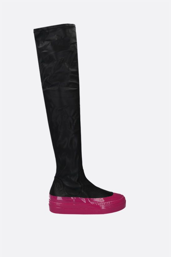 IRENEISGOOD: stretch faux leather over-the-knee boots Color Black_1