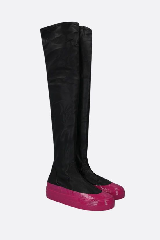 IRENEISGOOD: stretch faux leather over-the-knee boots Color Black_2