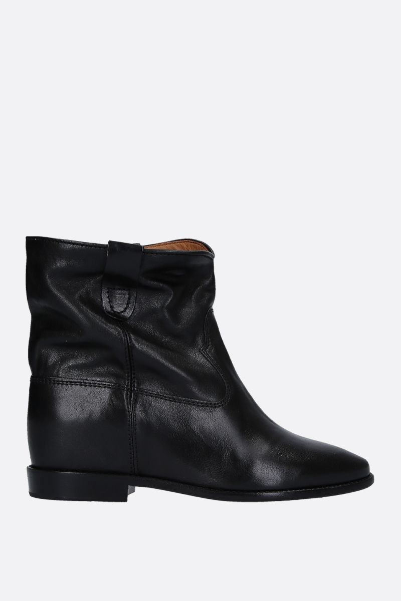ISABEL MARANT: Cluster shiny leather ankle boots Color Black_1