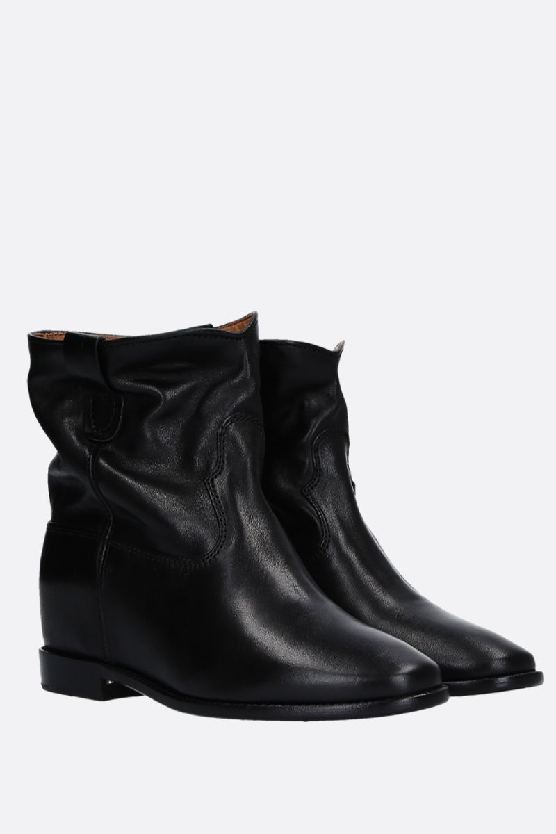 ISABEL MARANT: Cluster shiny leather ankle boots Color Black_2