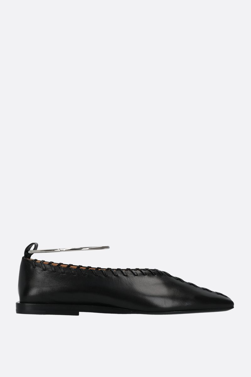 JIL SANDER: ankle bracelet-detailed smooth leather ballerinas Color Black_1