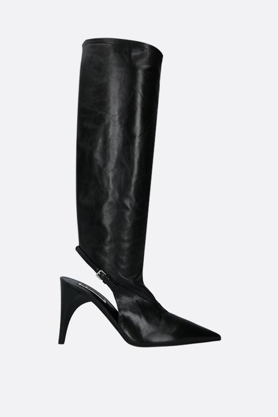JIL SANDER: vintage-effect leather boots Color Black_1