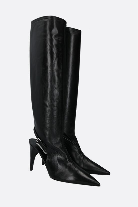 JIL SANDER: vintage-effect leather boots Color Black_2