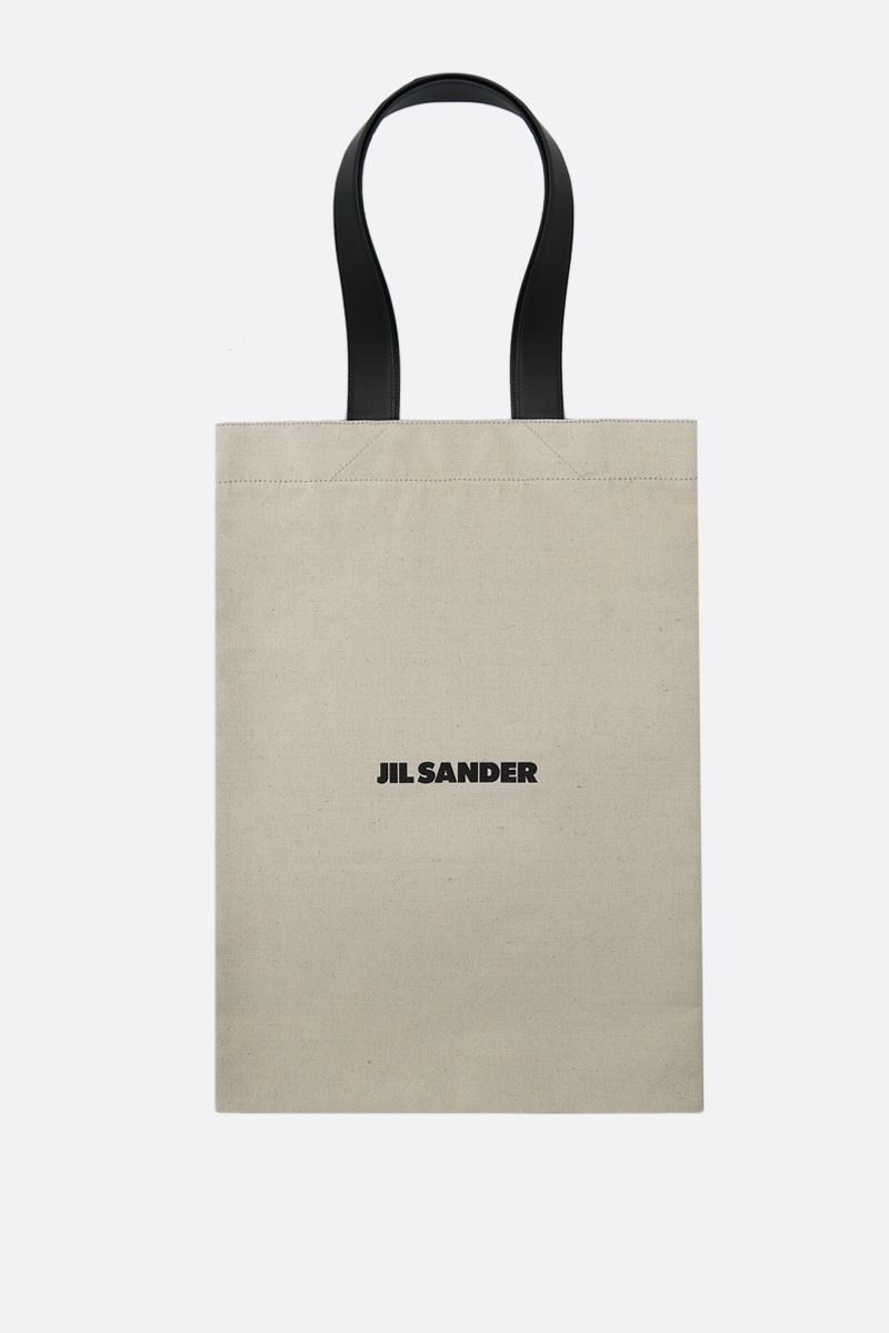JIL SANDER: logo print canvas shopping bag Color Neutral_1