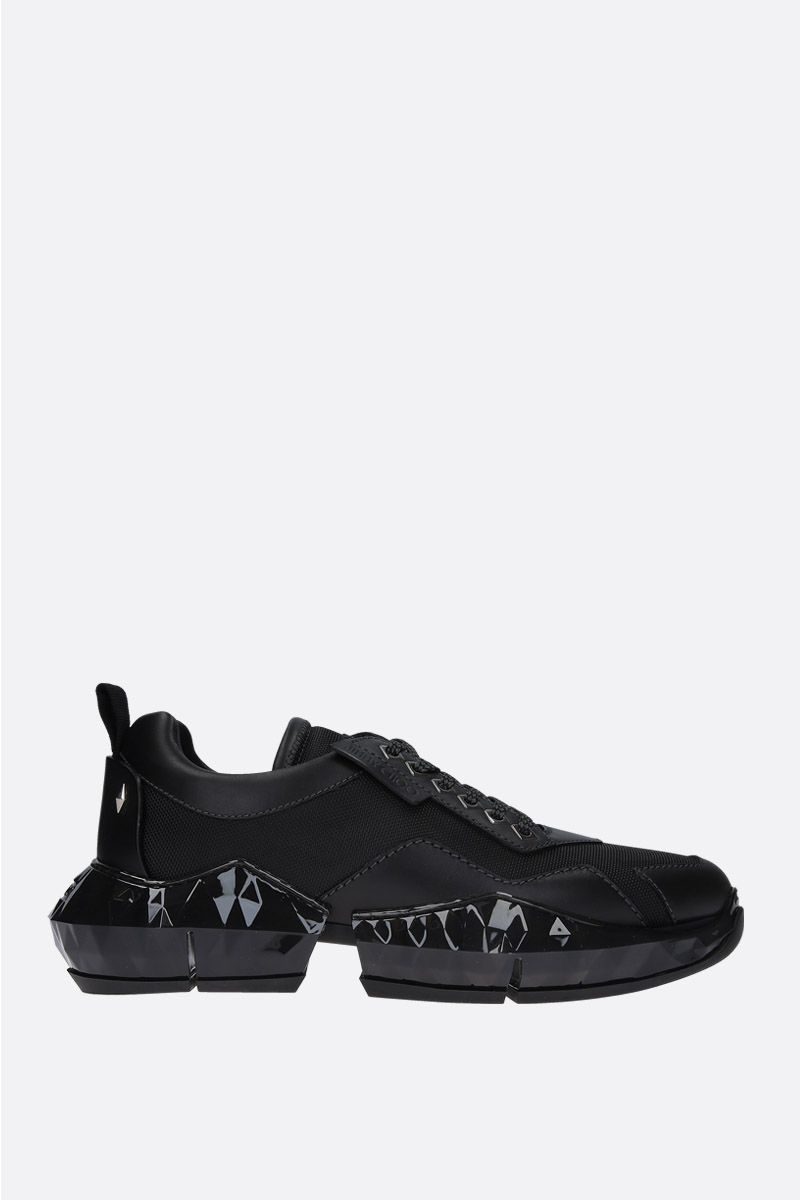 JIMMY CHOO: Diamond/M smooth leather and nylon sneakers Color Black_1