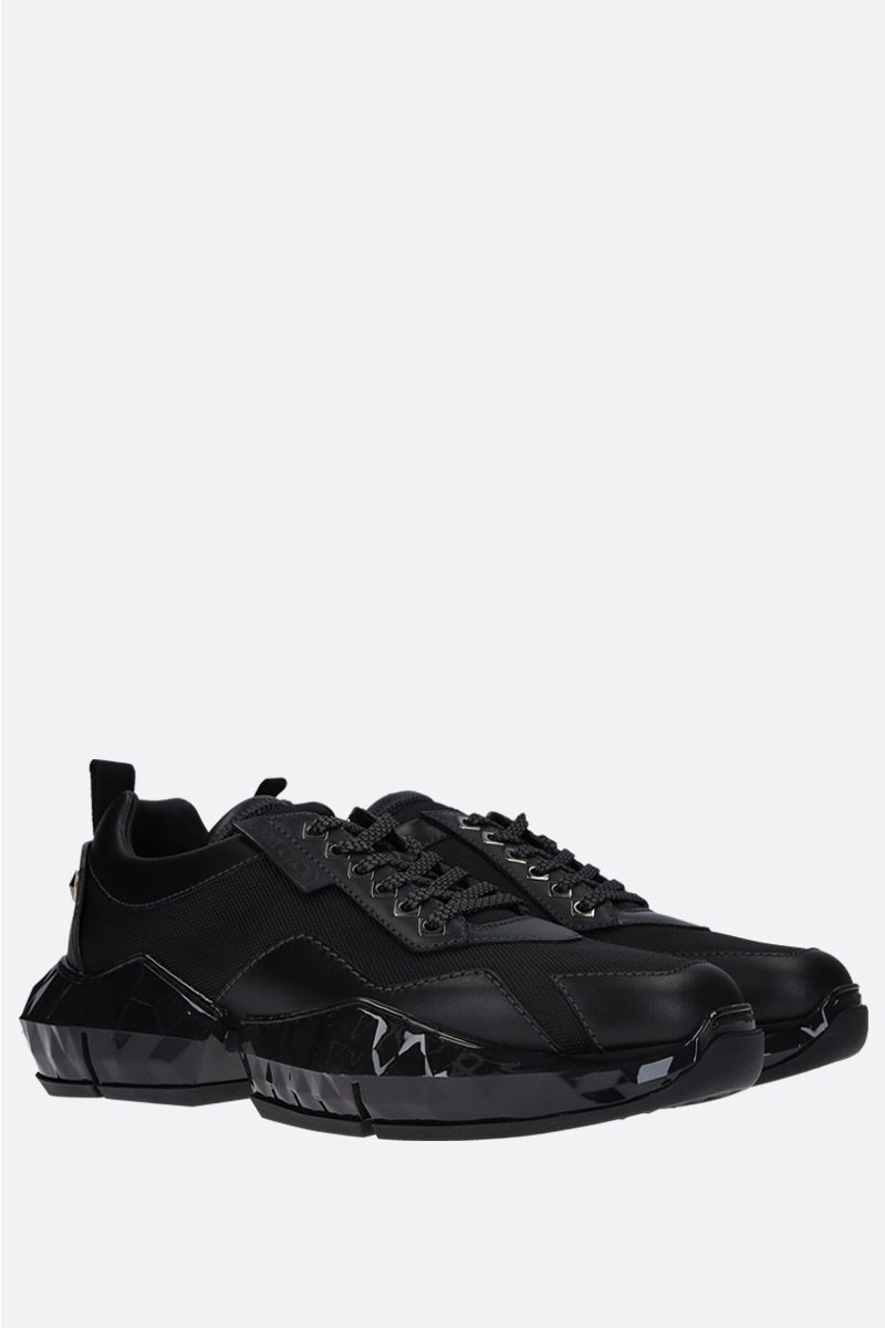 JIMMY CHOO: Diamond/M smooth leather and nylon sneakers Color Black_2