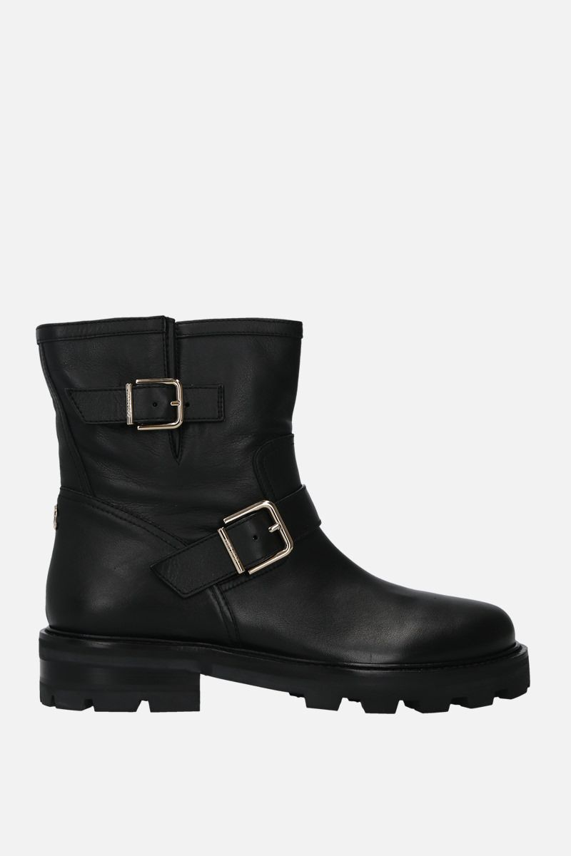 JIMMY CHOO: Youth II smooth leather combat boots Color Black_1