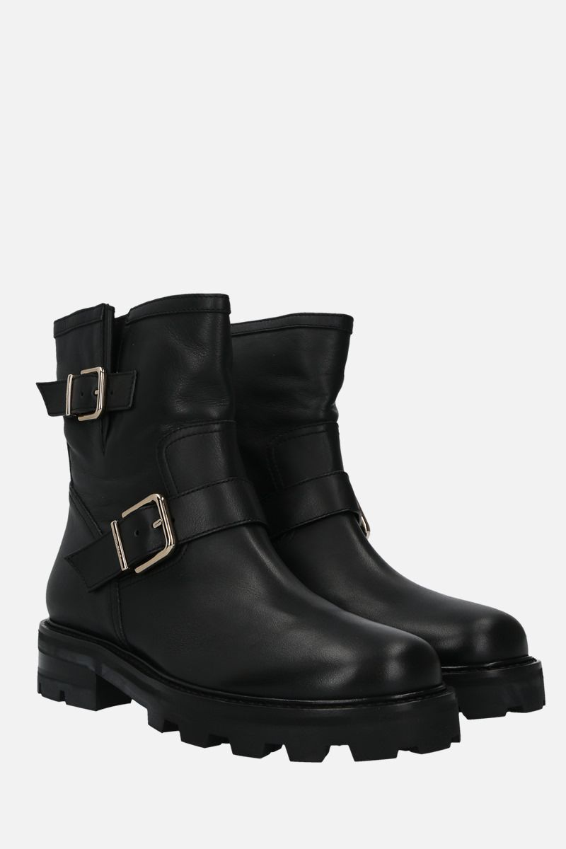 JIMMY CHOO: Youth II smooth leather combat boots Color Black_2