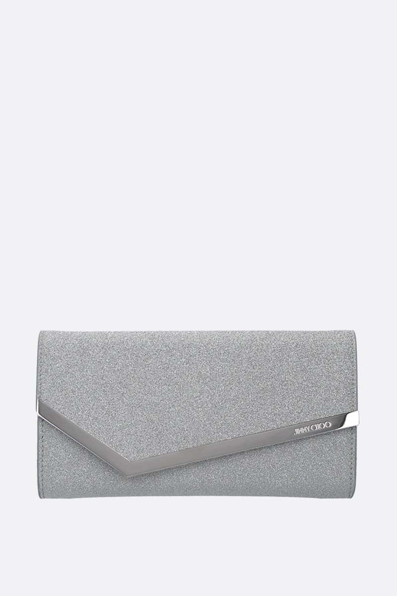 JIMMY CHOO: Emmie glitter fabric chain clutch Color Silver_1