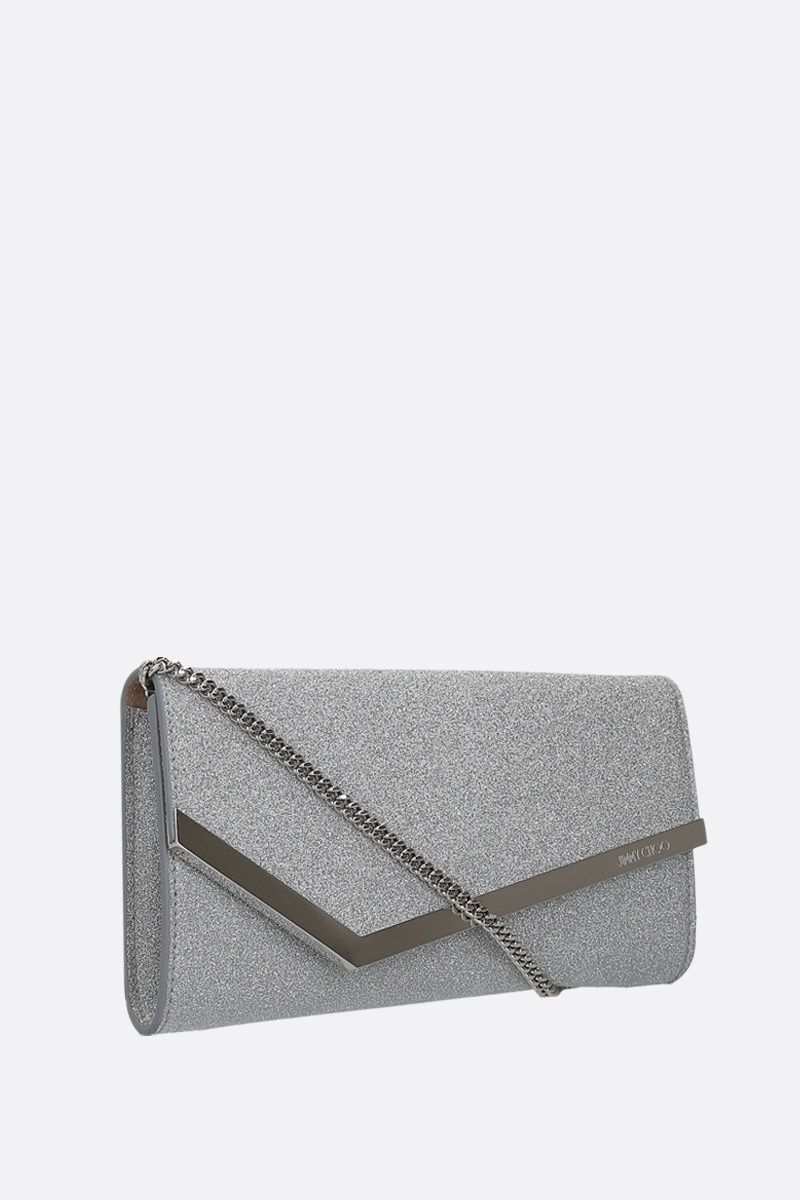 JIMMY CHOO: Emmie glitter fabric chain clutch Color Silver_2