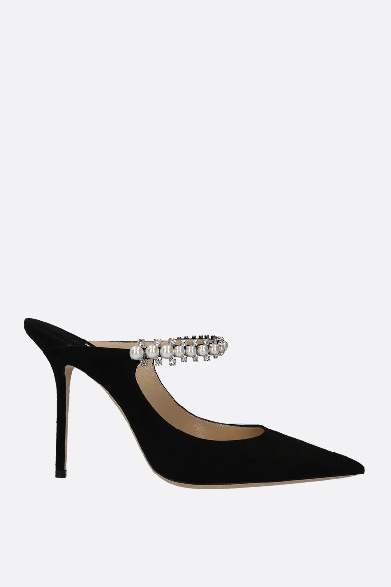 JIMMY CHOO: Bing velvet suede mules Color Black_1