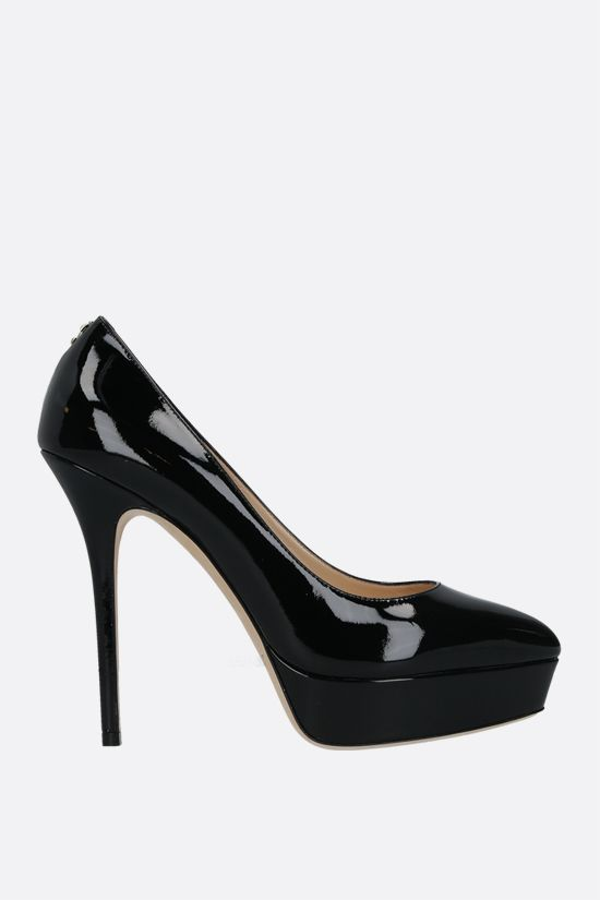 JIMMY CHOO: Jenara patent leather platform pumps Color Black_1