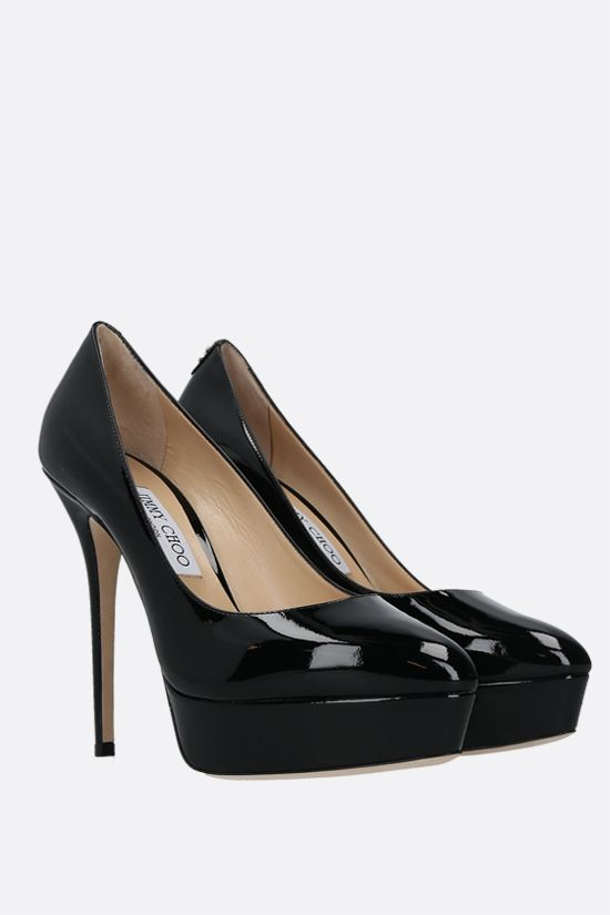 JIMMY CHOO: Jenara patent leather platform pumps Color Black_2