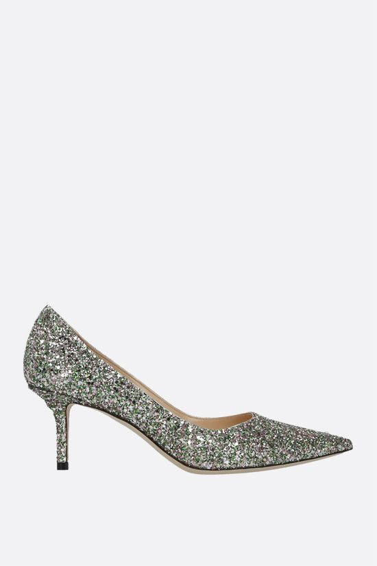 JIMMY CHOO: Love glitter fabric pumps Color Green_1