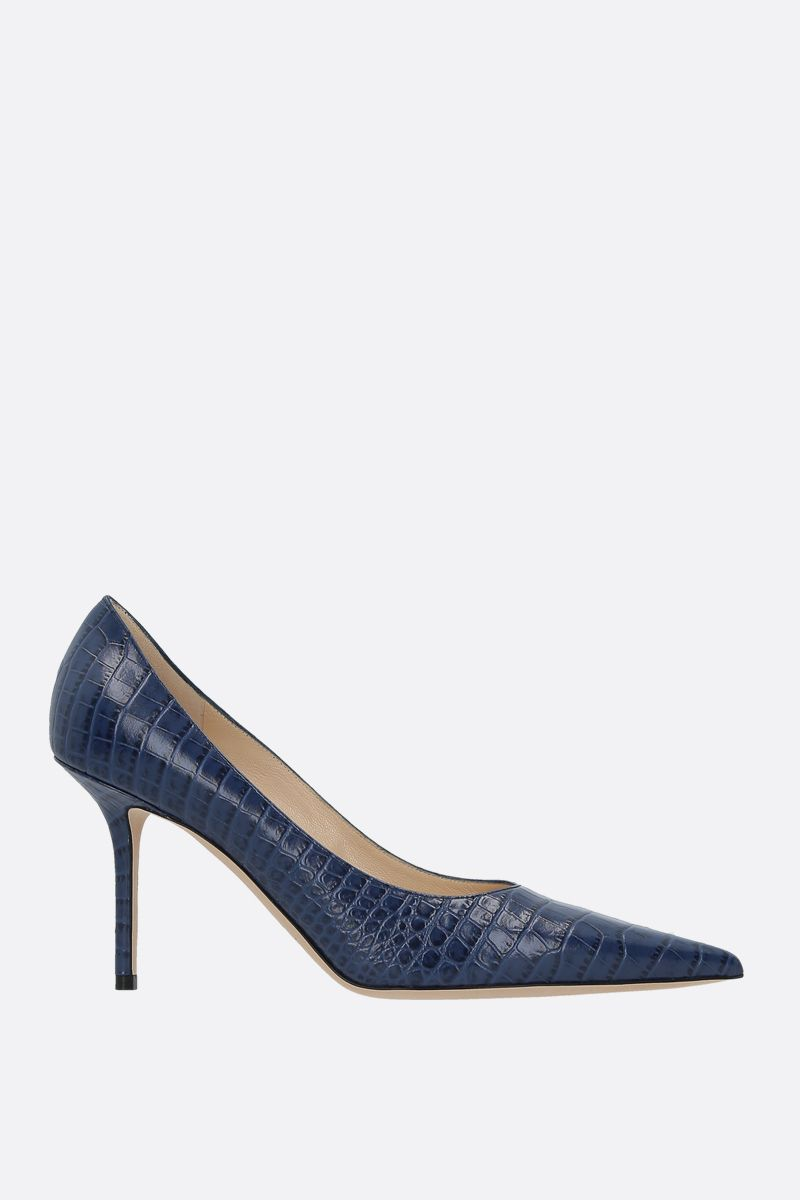 JIMMY CHOO: Love crocodile embossed leather pumps Color Blue_1