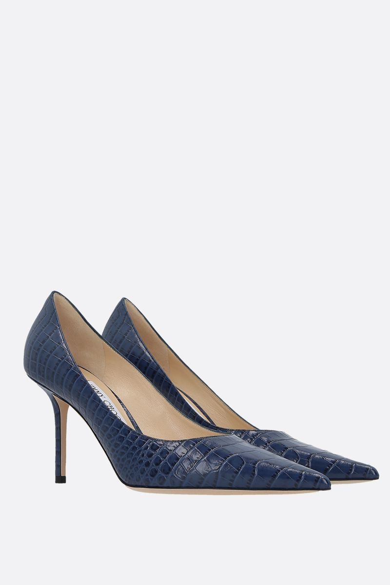 JIMMY CHOO: Love crocodile embossed leather pumps Color Blue_2