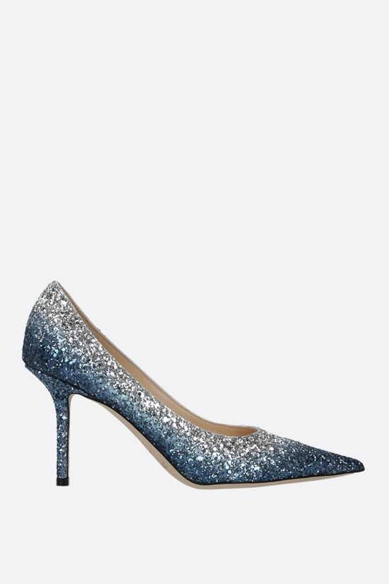 JIMMY CHOO: Love glitter fabric pumps Color Blue_1