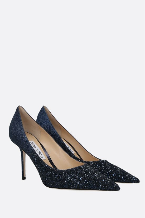 JIMMY CHOO: Love glitter fabric pumps Color Blue_2