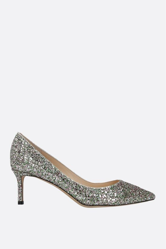 JIMMY CHOO: Romy glitter fabric pumps Color Green_1