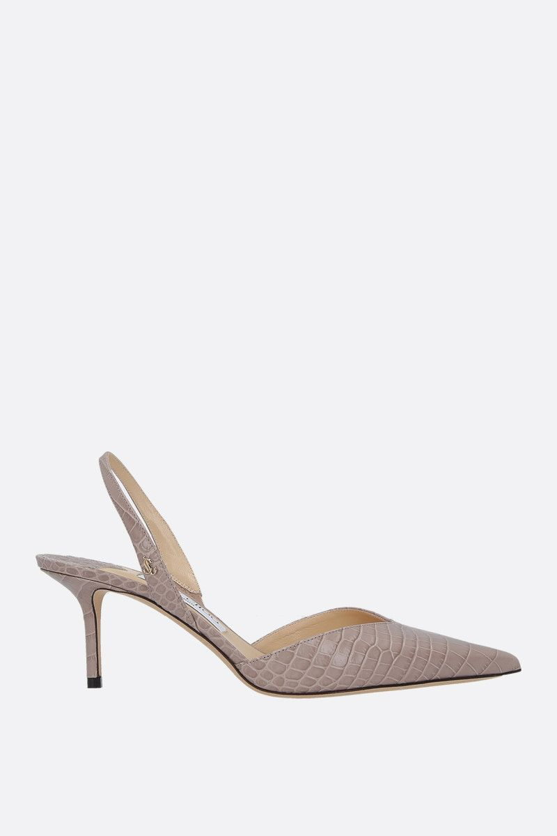 JIMMY CHOO: slingback Thandi in pelle stampa coccodrillo Colore Neutro_1
