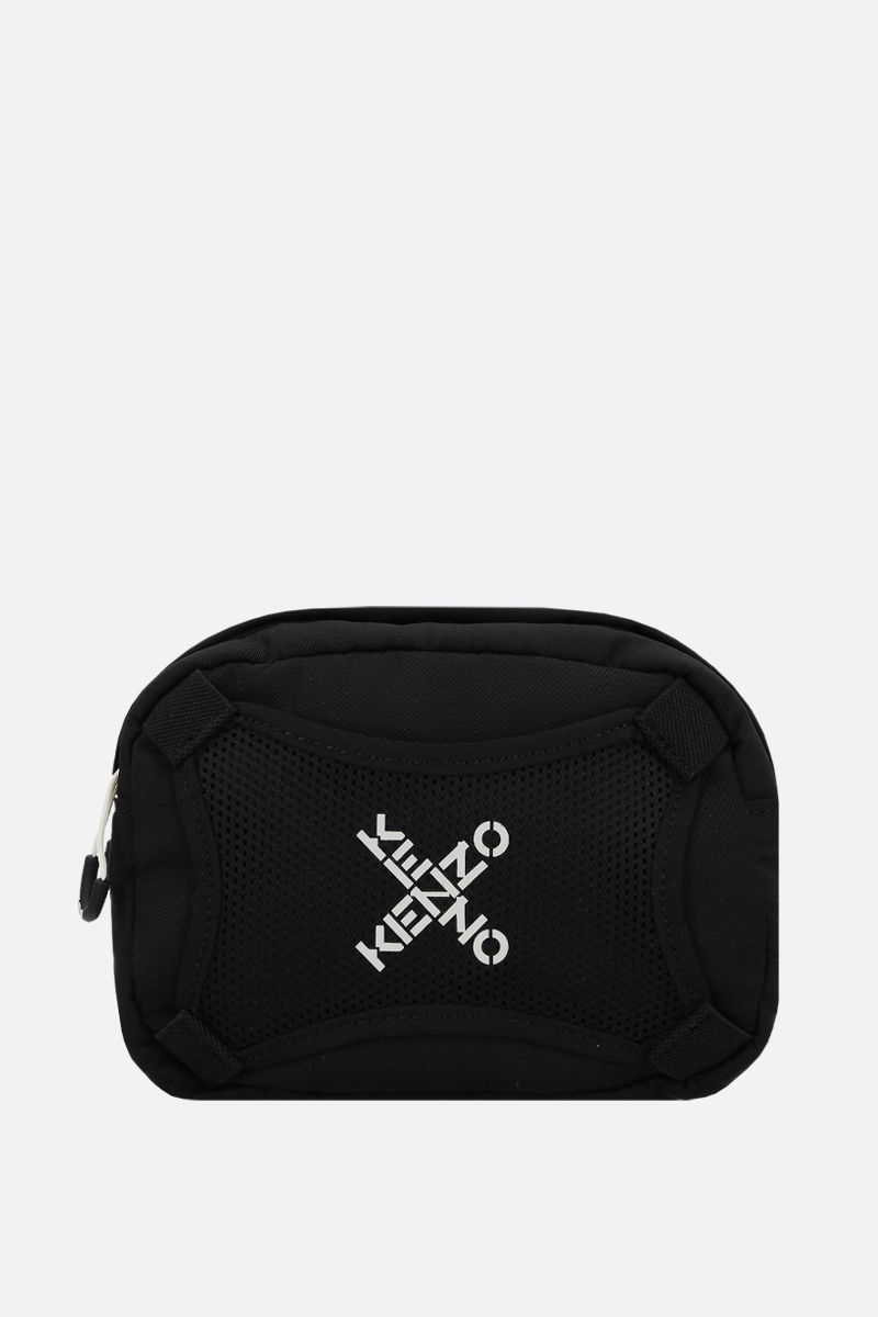 KENZO: logo print nylon shoulder bag Color Black_1