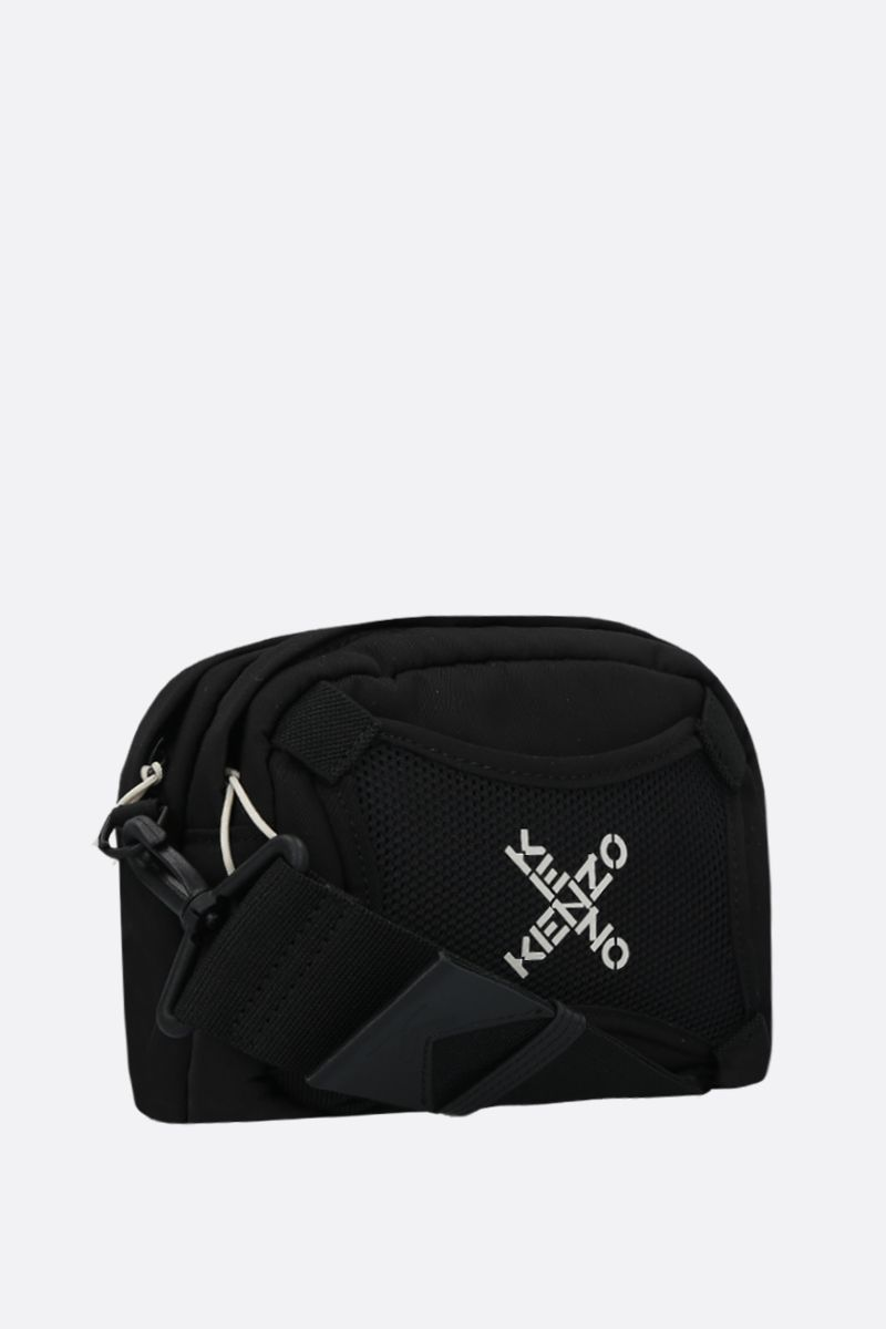 KENZO: logo print nylon shoulder bag Color Black_2