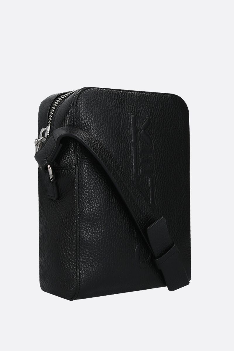 KENZO: Kenzo Imprint grainy leather shoulder bag Color Black_2