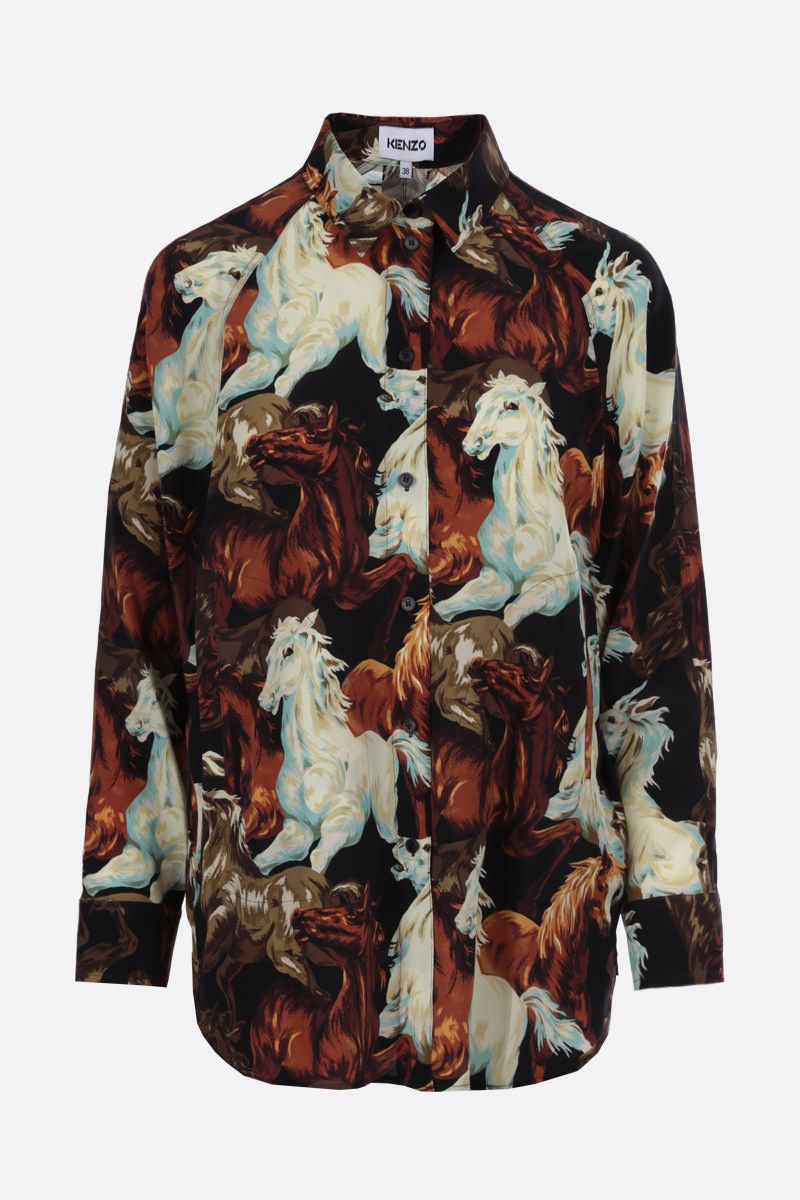 KENZO: KENZO Horses print silk shirt Color Black_1