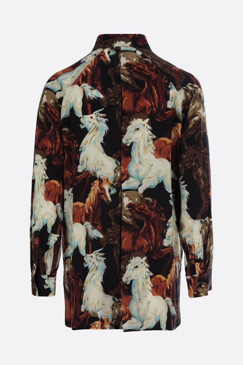 KENZO: KENZO Horses print silk shirt Color Black_2