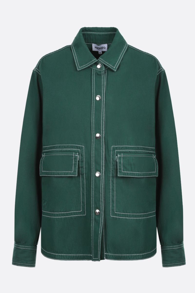 KENZO: K patch cotton military shirt Color Green_1
