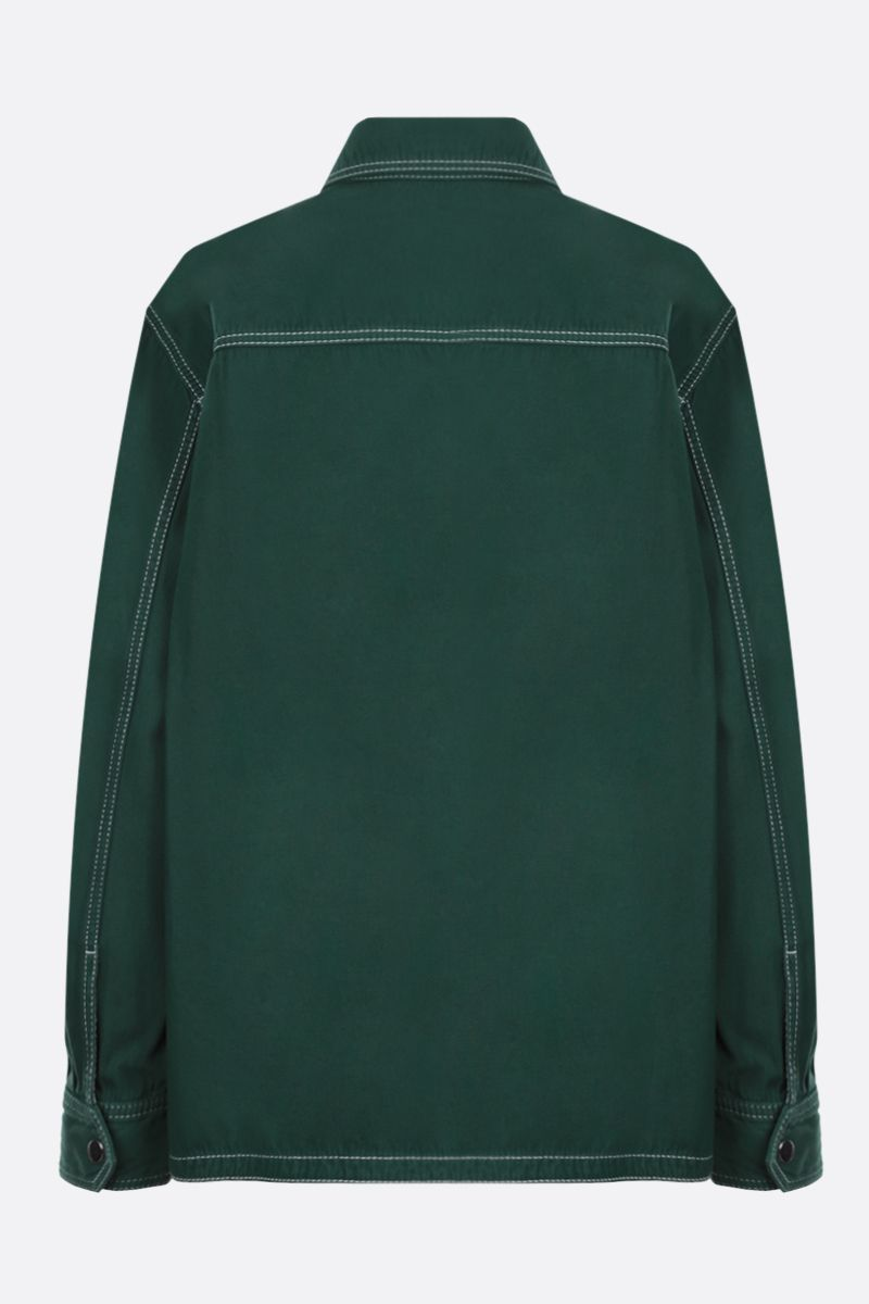 KENZO: K patch cotton military shirt Color Green_2