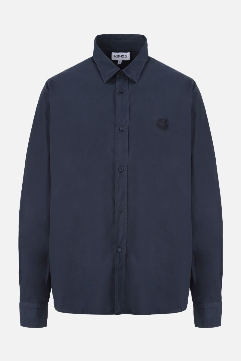 KENZO: Tiger Head embroidered cotton shirt Color Blue_1
