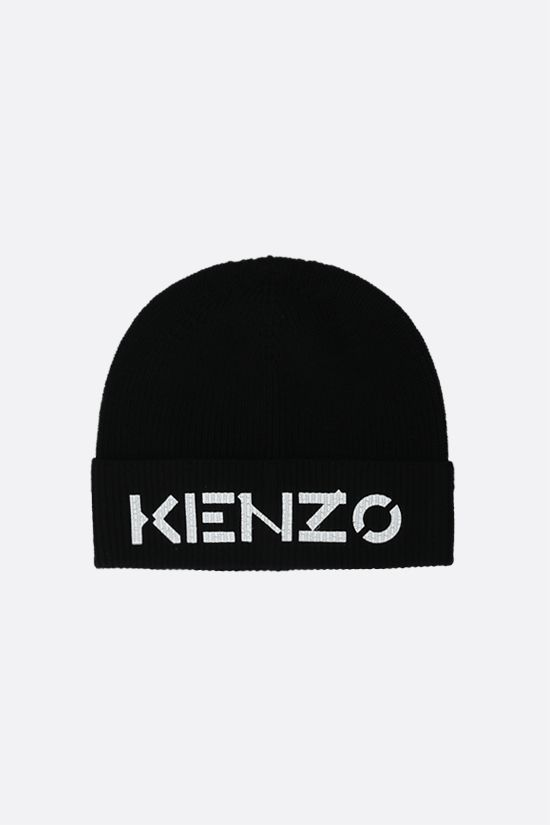 KENZO: Kenzo print ribbed wool beanie Color Black_1