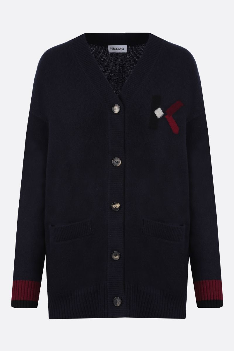 KENZO: K Logo wool blend cardigan Color Blue_1