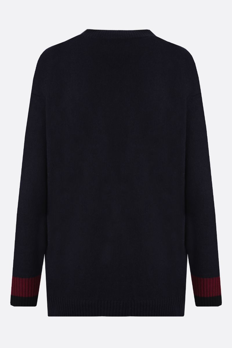 KENZO: K Logo wool blend cardigan Color Blue_2