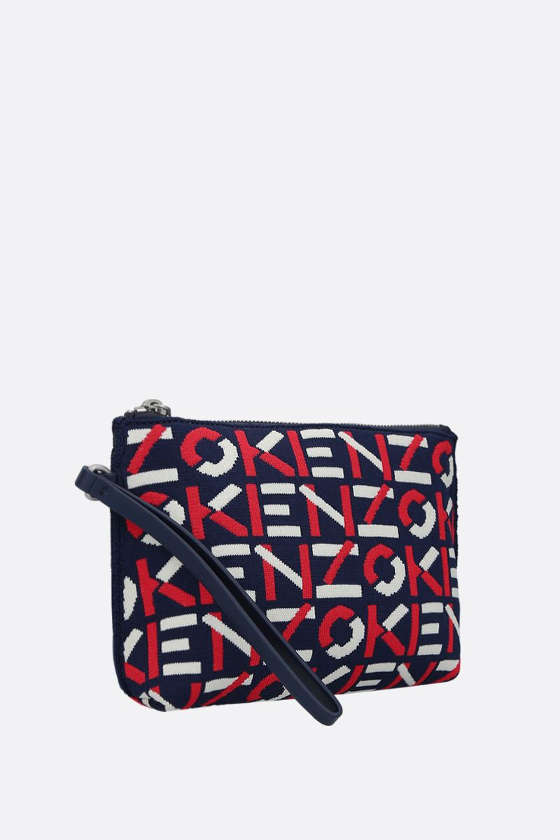 KENZO: logoed fabric clutch Color Red_2