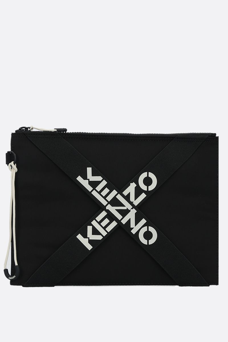 KENZO: logoed strap-detailed nylon clutch Color Black_1