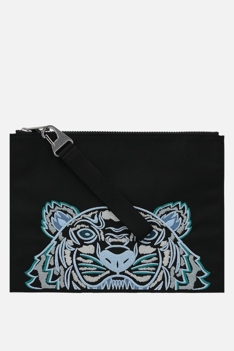 KENZO: Kampus Tiger large nylon pouch Color Black_1