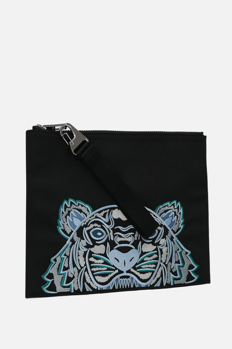 KENZO: Kampus Tiger large nylon pouch Color Black_2