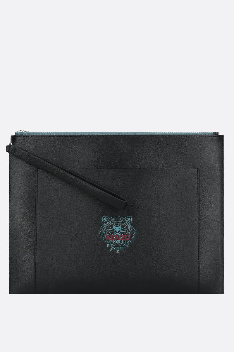 KENZO: large Ekusson Tiger smooth leather cluch Color Black_1