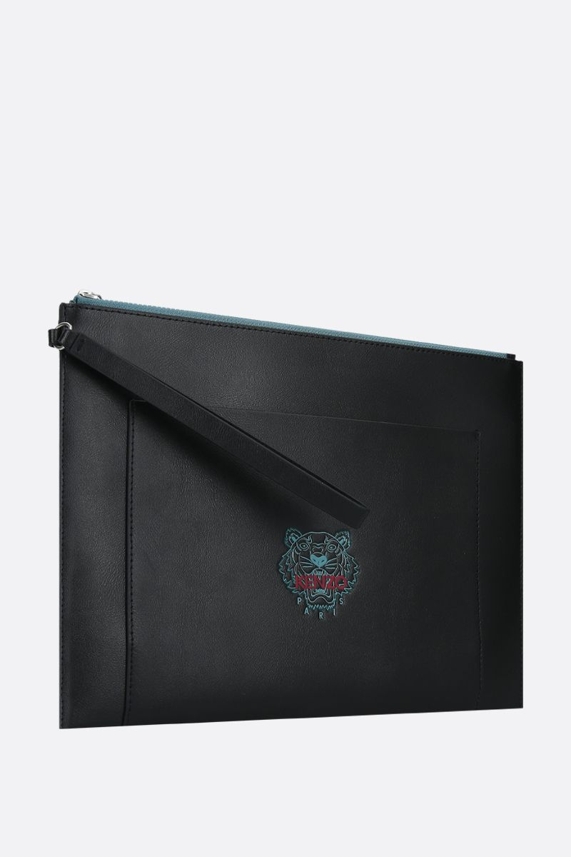 KENZO: clutch Ekusson Tiger large in pelle liscia Colore Nero_2