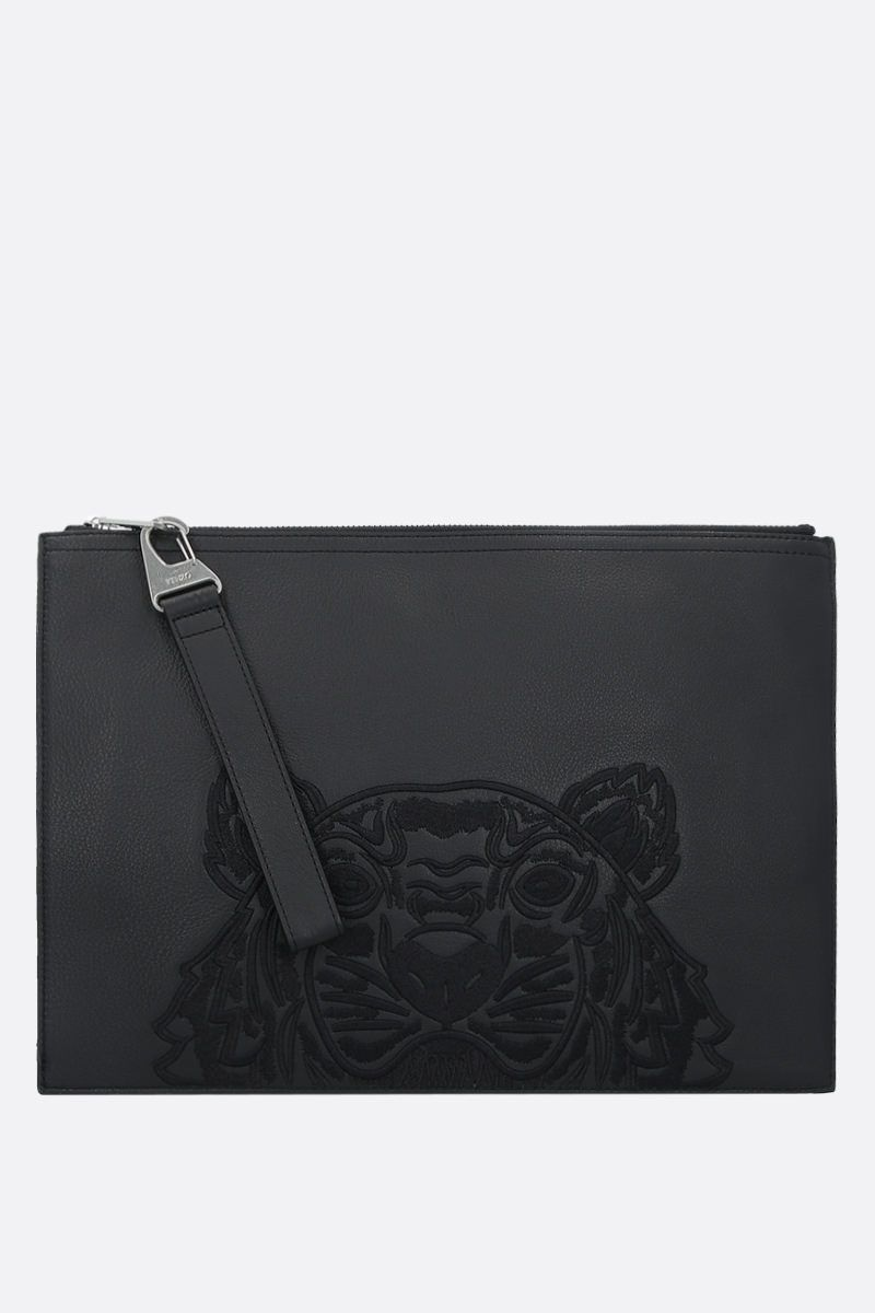 KENZO: Tiger embroidered grainy leather document holder Color Black_1