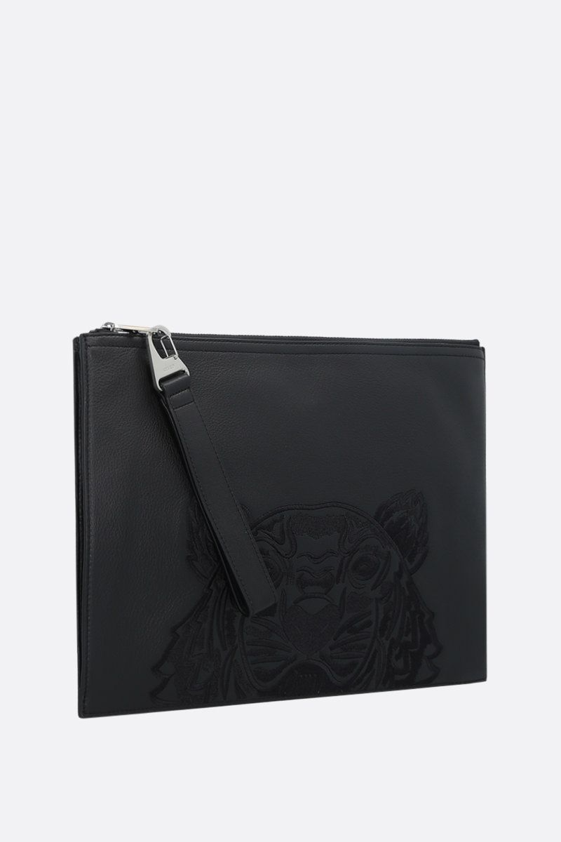 KENZO: Tiger embroidered grainy leather document holder Color Black_2