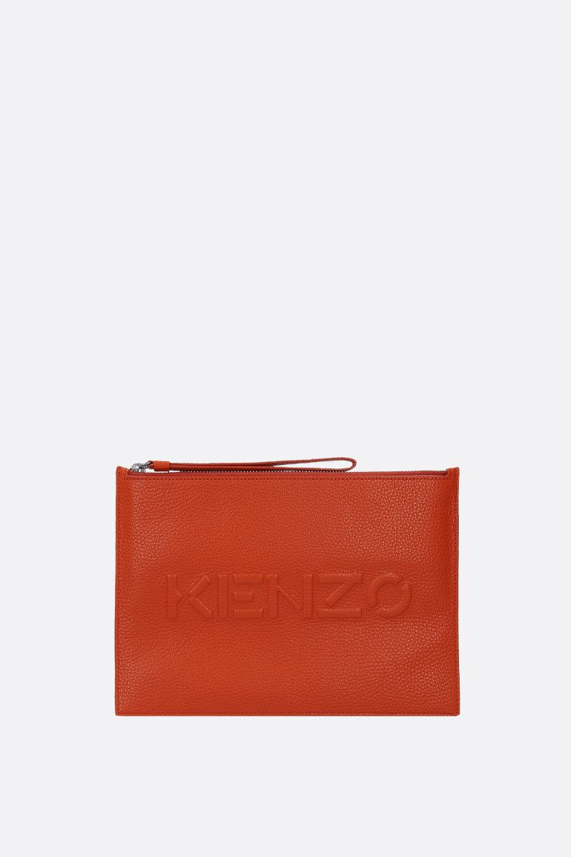 KENZO: grainy leather large clutch Color Orange_1
