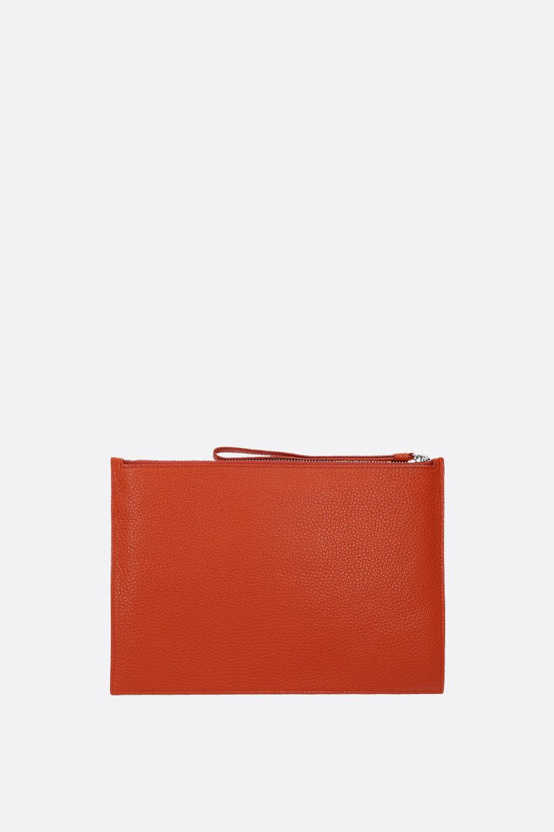 KENZO: grainy leather large clutch Color Orange_2